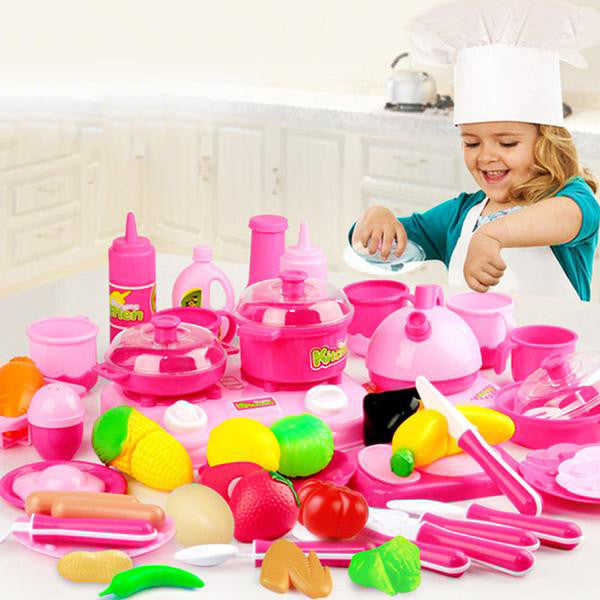 46PCS Pretend Play Cutting Food Set For Kids