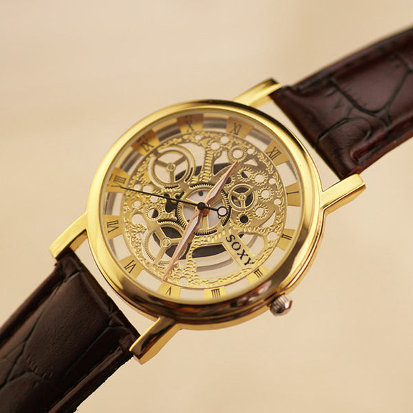 Leather Strap Skeleton Gold Wrist Watch