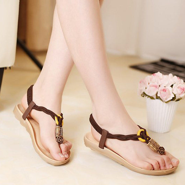 Beaded Bohemian Clip Toe Sandals