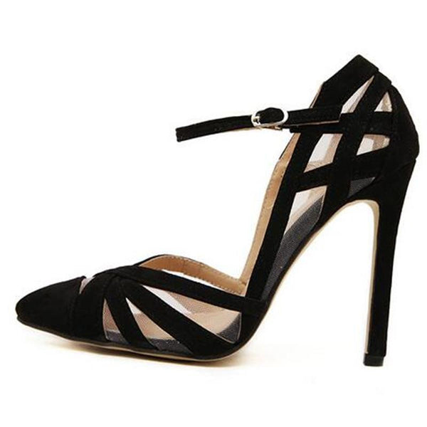 Black Hollow Mesh Buckle Strap Stiletto