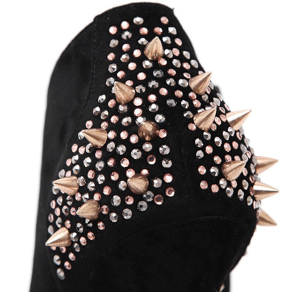 Ankle Rhinestone Rivets High Heel Boot