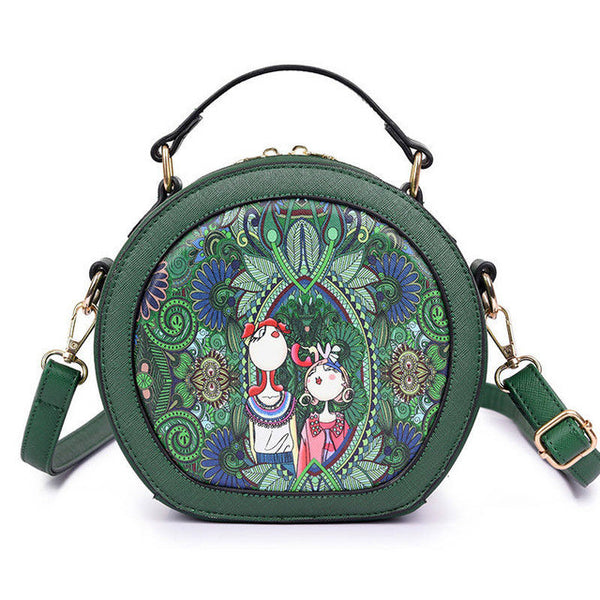 Circle Shaped Green Forest Style Shoulder Bag