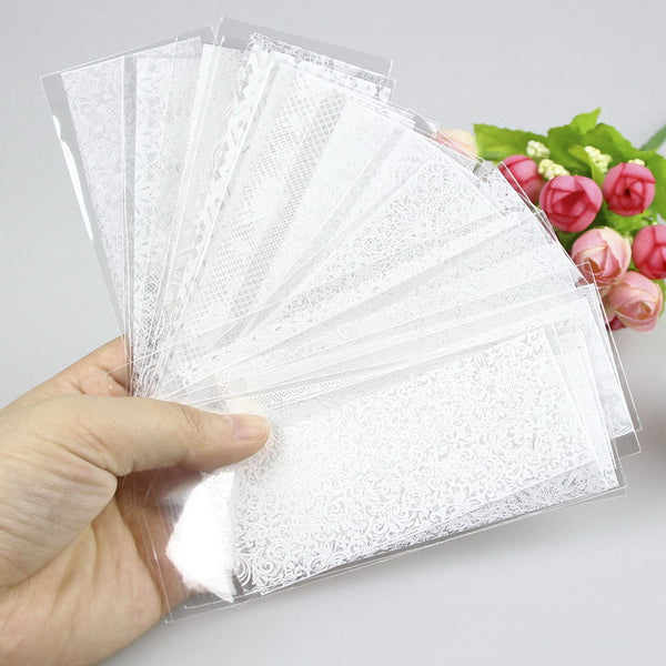21 Pcs/Lot White Lace Nail Sticker Transfer Lace Floral Nail Art