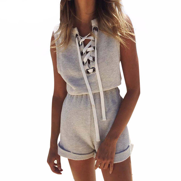 Lace Up Gray Summer Sexy Sleeveless Short Romper