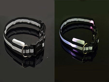 LED Collar Flashing Light Up Nylon Night Safety Collars