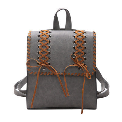 Leather Chain Square Weave Backpack