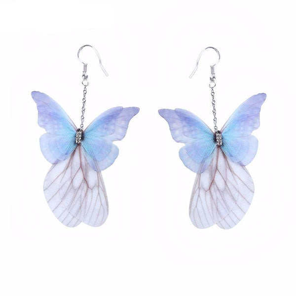 Handmade Ethereal Butterfly Drop Earrings Royal Blue Purple Earrings