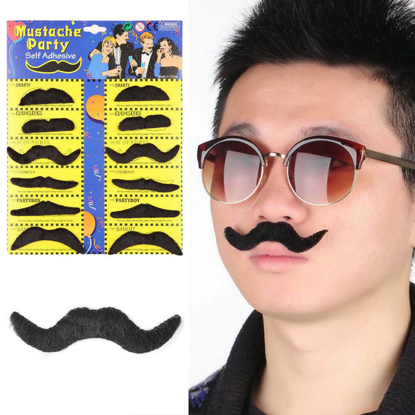 12pcs Funny Stylish Fake Beard Mustache For Halloween Costume