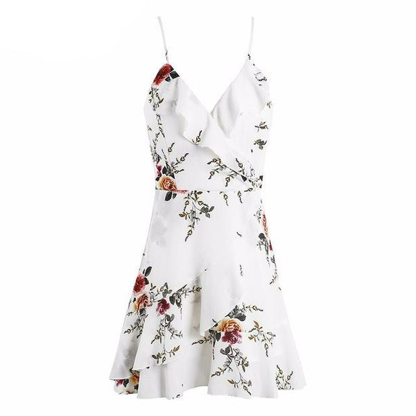 A-line Ruffles Floral Print Summer Dress