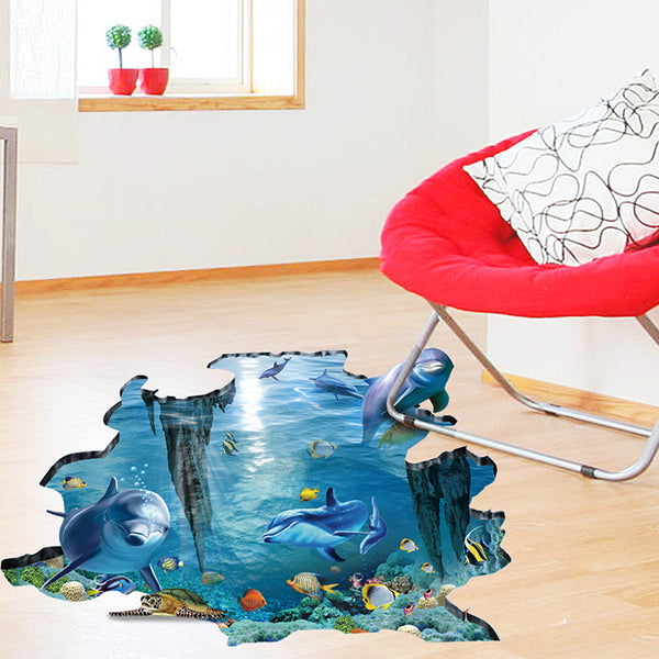 3D Underwater World Floor Sticker / Wallpaper