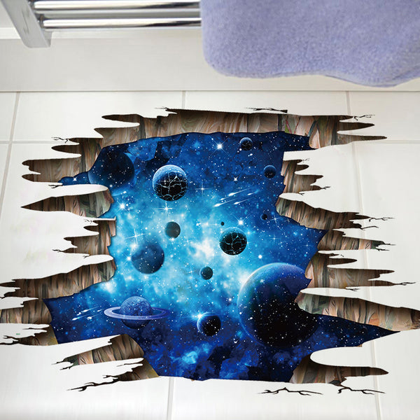 3D space galaxy wall/floor stickers