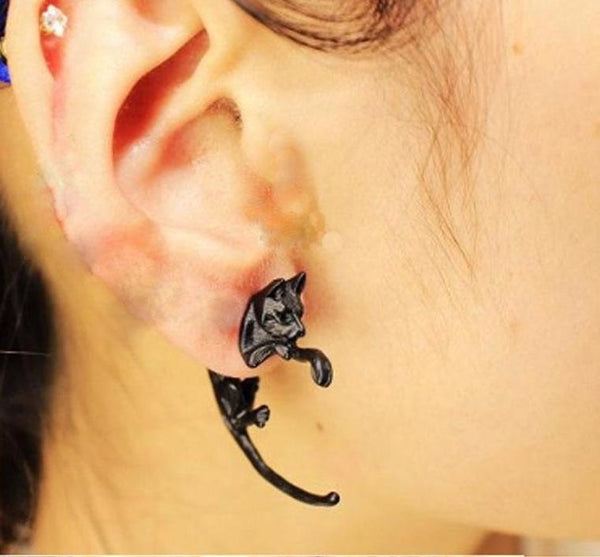 1 Pc Long Tail Black Cat Earrings