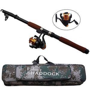 2.4m Fiberglass Fishing Rods, Fishing Reel and Waterproof Bag Combo
