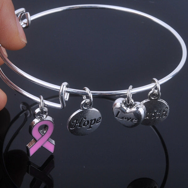 Care For Breast Cancer pink ribbon charms bracelet