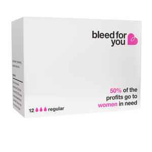 back of single box of bleed for you organic tampons for one year purchase