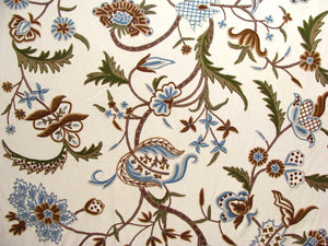 "Crewel Fabric Hand Embroidered Kashmir Wool on Cotton Cream Base 60"" x 1 Yard (By the Yard) -0007"
