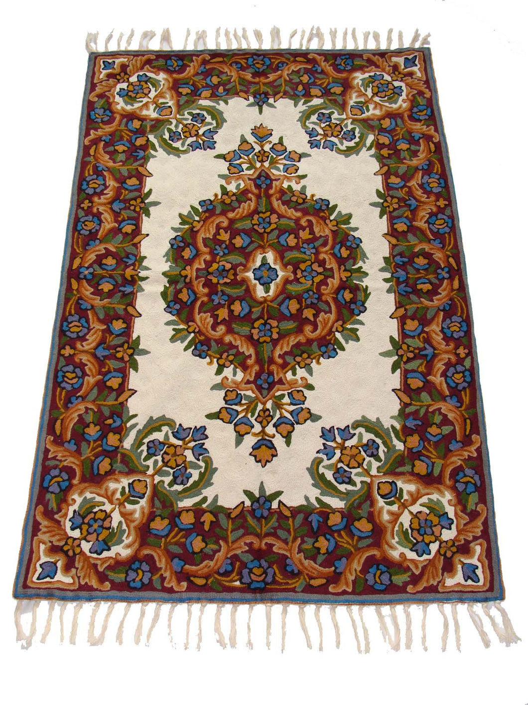 Chain Stitch Rug Carpet Hand Made Kashmir Crewel Wool Embroidered Floor Area Rug 2.5 x 4 Feet