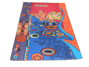 Chain Stitch Rug Carpet Hand Made Kashmir Crewel Wool Embroidered Floor Area Rug Multicolour 4 x 6 Feet Canvas Lined -0007