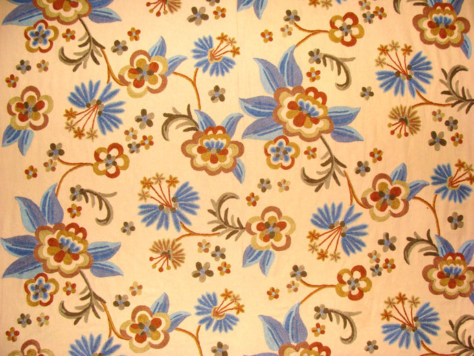 Crewel Fabric Hand Embroidered Kashmir Wool on Cotton  60