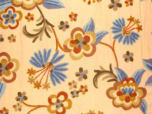 "Crewel Fabric Hand Embroidered Kashmir Wool on Cotton  60"" x 1 Yard (By the Yard) -0012"