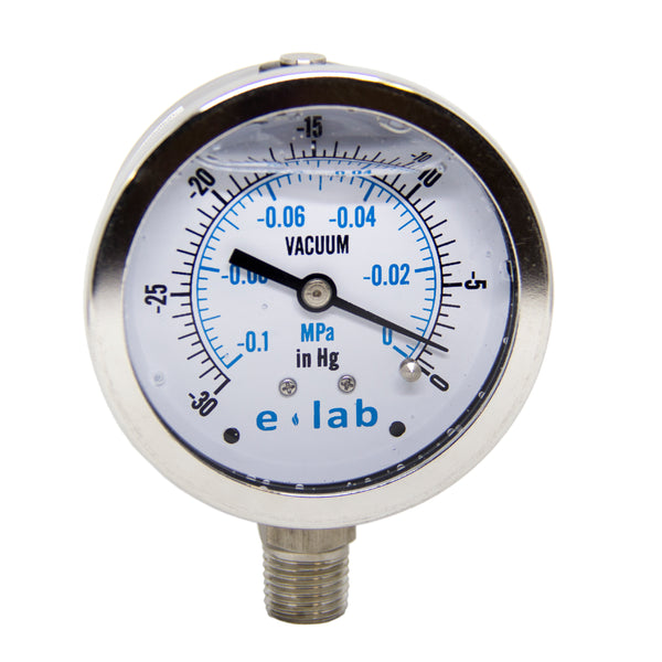 e-lab Vacuum Gauge -30Hg. to 0Hg. - extraction equipment canada, extraction equipment - Evolved Extraction Solutions