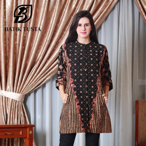 Long Sleeve Blouse - Anjani Covered Button Short Sleeve Tunic