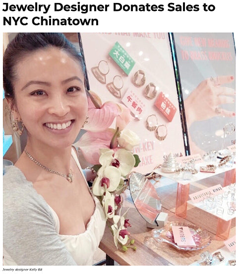 """Sublima Founder Kelly Bit at pop-up with headline: """"Jewelry Designer Donates Sales to NYC Chinatown"""""""