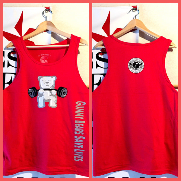 Gummy Bears Save Lives white gummy/red unisex tank