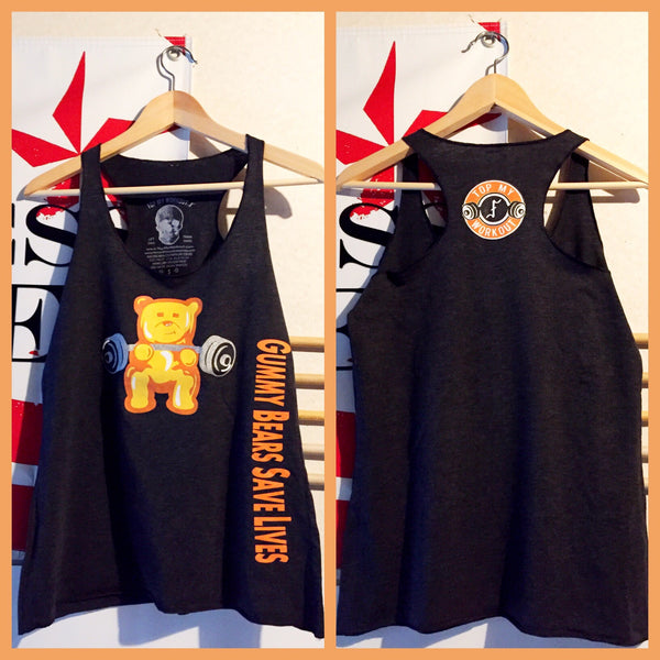 SOLD OUT! Gummy Bears Save Lives orange gummy/black racerback tank