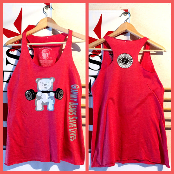3 left! Gummy Bears Save Lives white gummy/red racerback tank
