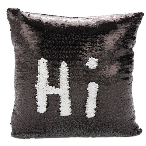 Hey, Hi, Hello Sequined Pillow Cover