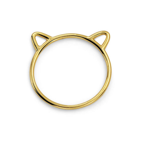 18K Gold Cat Ears Ring