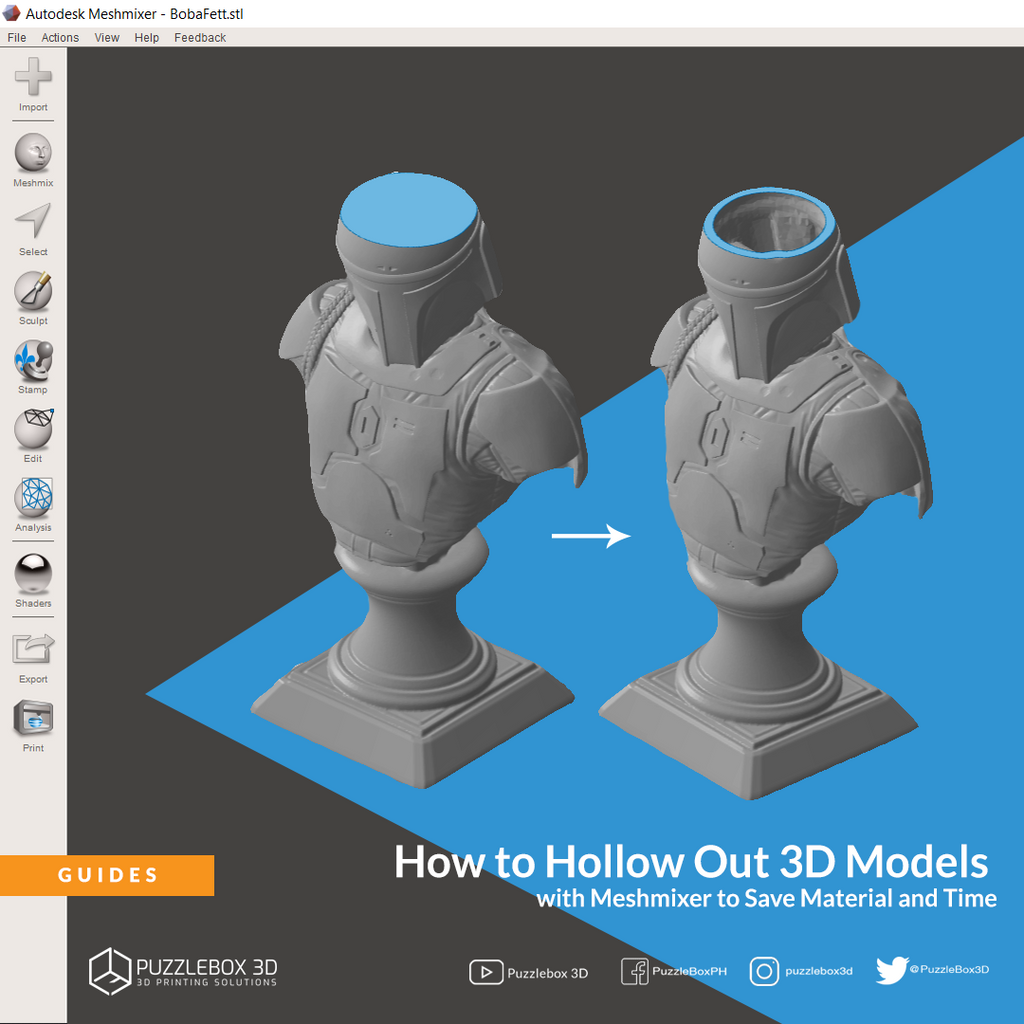 How to Hollow Out 3D Models with Meshmixer to Save Material and Time