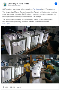 Inquirer: 'Eat Bulaga' donates 3D printers to UST for making protective gear