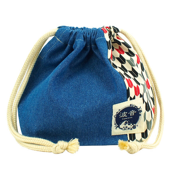 Japanese Yagasuri Print X Medium Blue Lunch Drawstring Sack Small