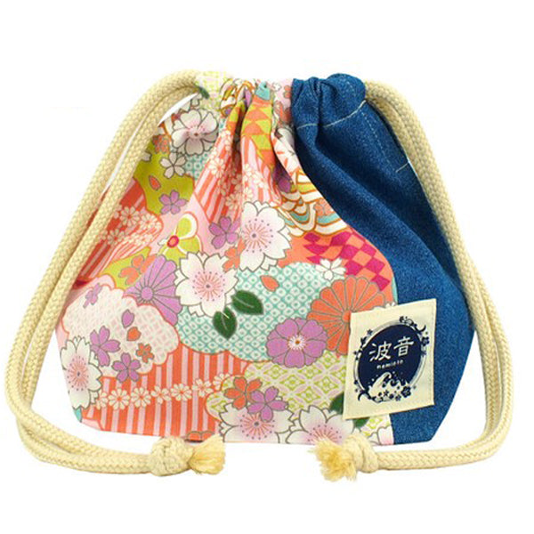 Japanese Floral Print Pink X Medium Blue Lunch Drawstring Sack Small