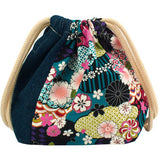 Japanese Floral Print X Indigo Blue Lunch Drawstring Sack Small