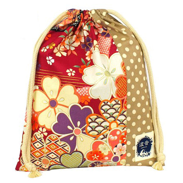 Japanese Sakura Floral Print x Beige Polka Dot Everyday Use Drawstring Sack Large