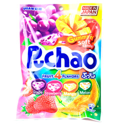 UHA Mikakuto Puchao Soft Candy with Gummy Bits 4 Fruit Flavors 3.53 oz
