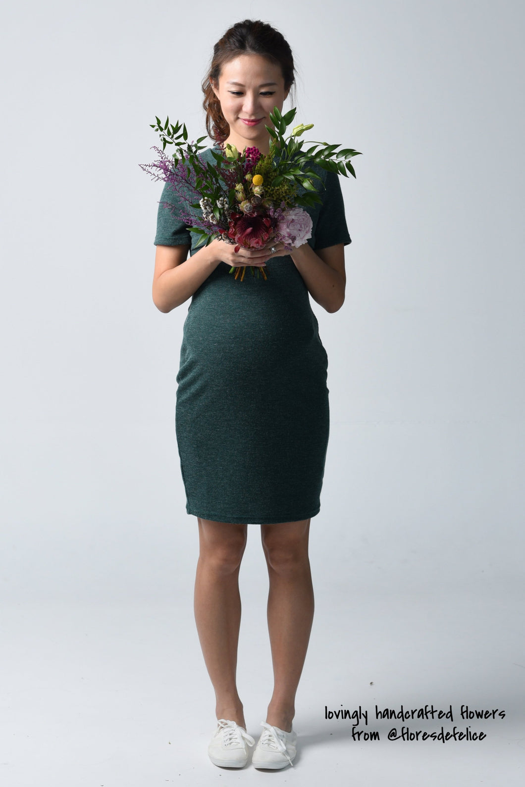 Kayla Green Knit Maternity & Nursing Dress