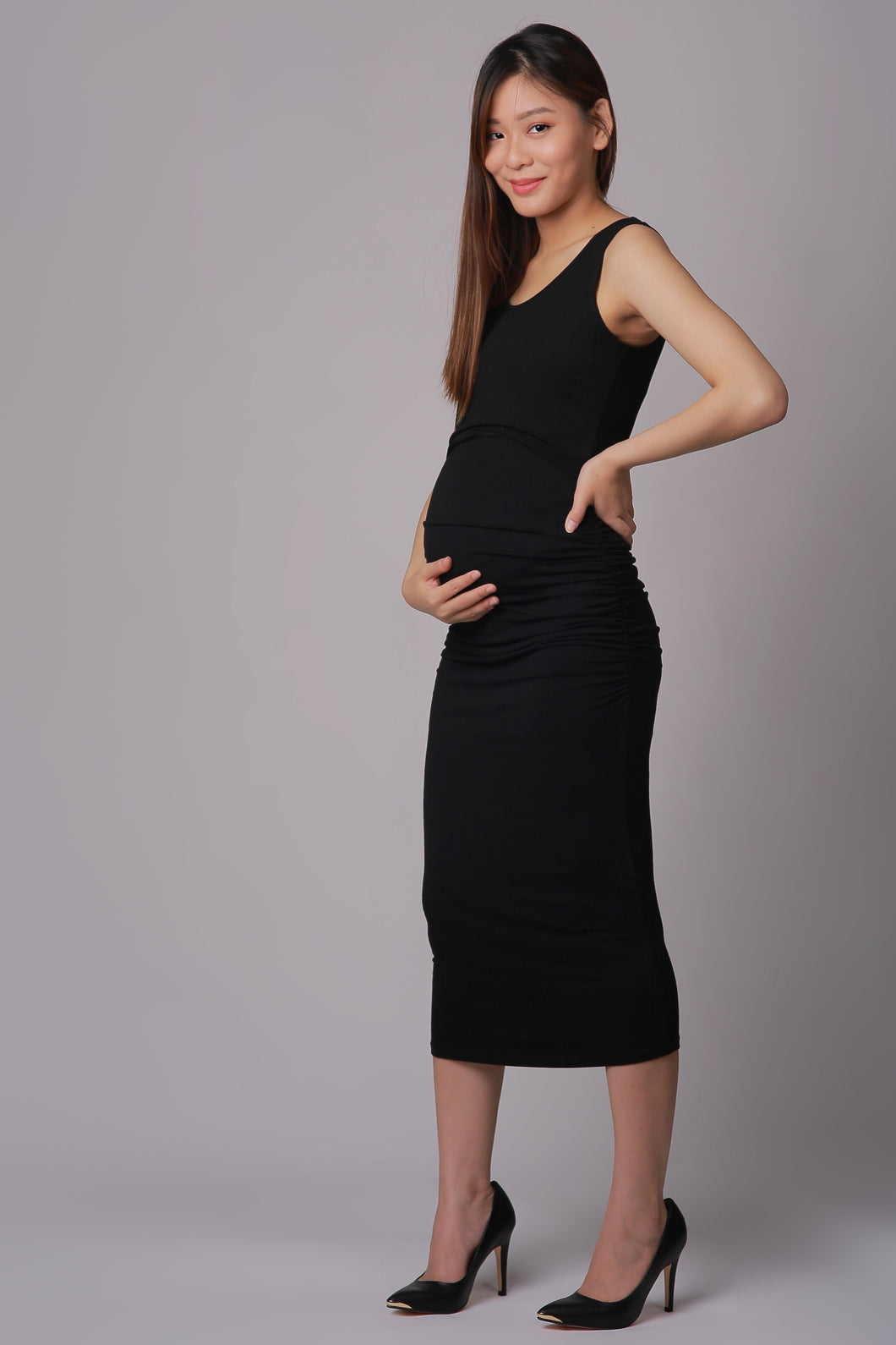 Emma Black Maternity & Nursing Dress (Ruched Sides)