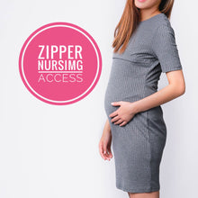 Kayla Grey Knit Maternity & Nursing Dress