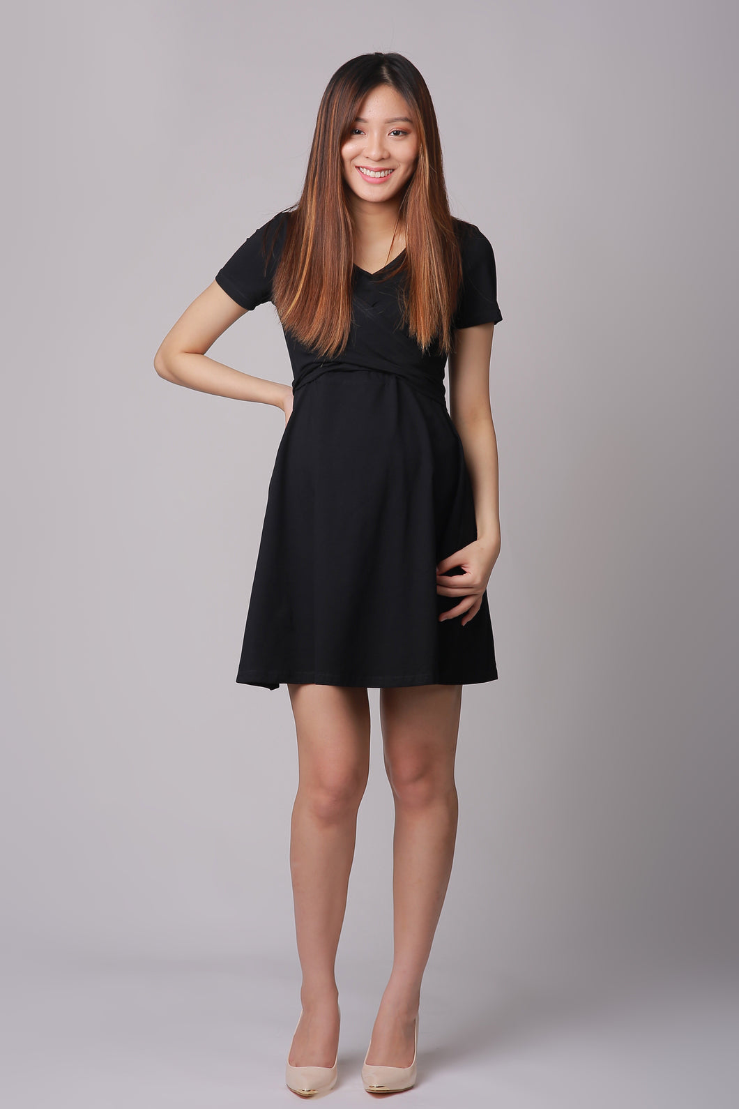 Madison Black Nursing Wrap Dress