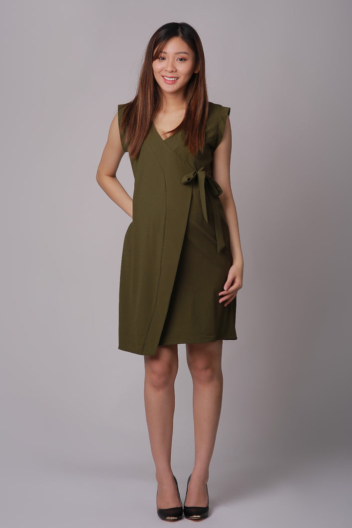 Tanya Olive Side Tie Maternity Dress