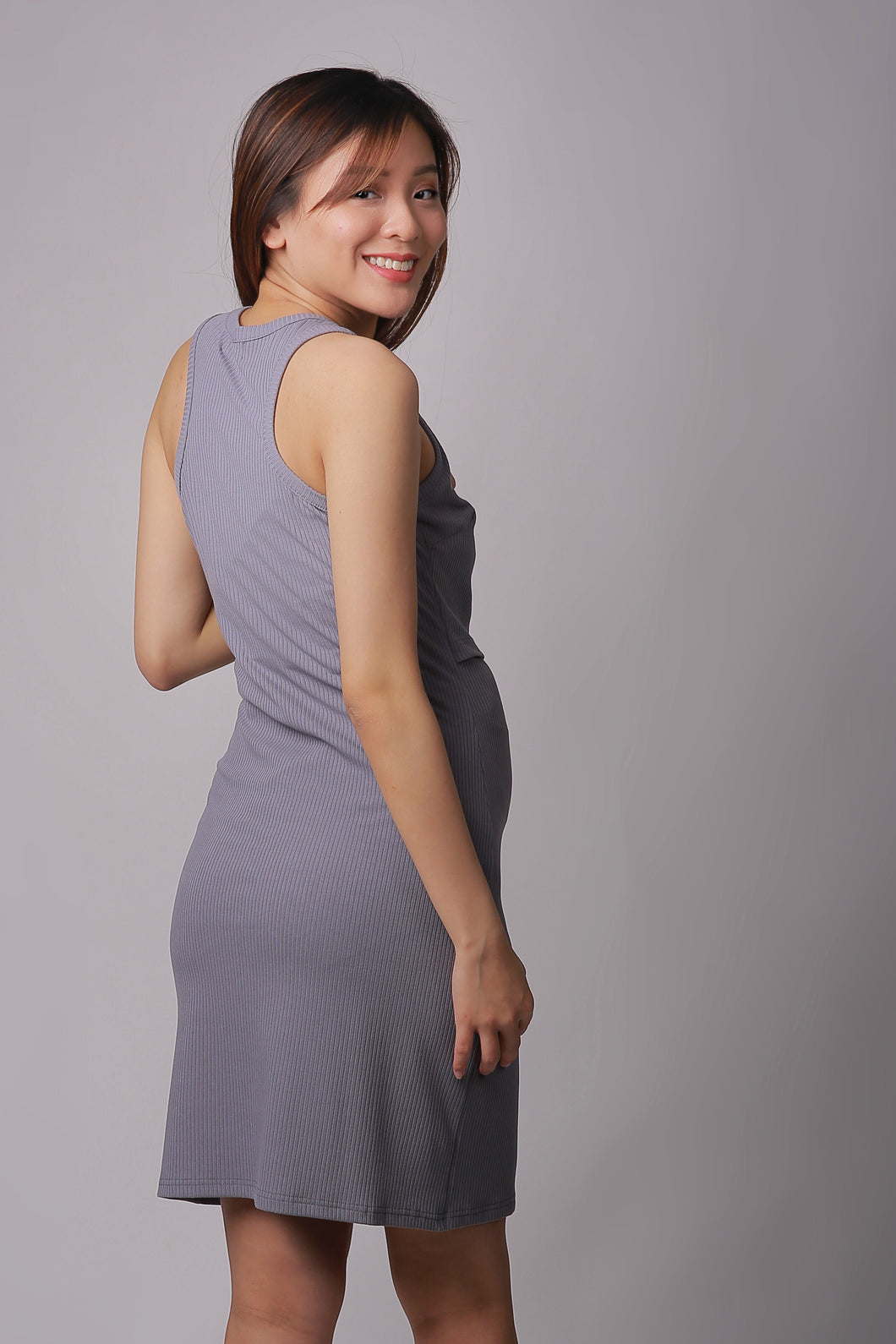 Kyra Grey Knit Maternity & Nursing Tank Dress