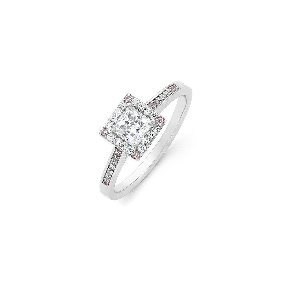 Princess cut pink diamond engagement ring