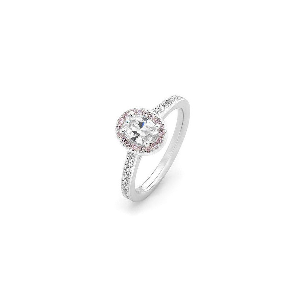 Pink and white diamond oval halo engagement ring