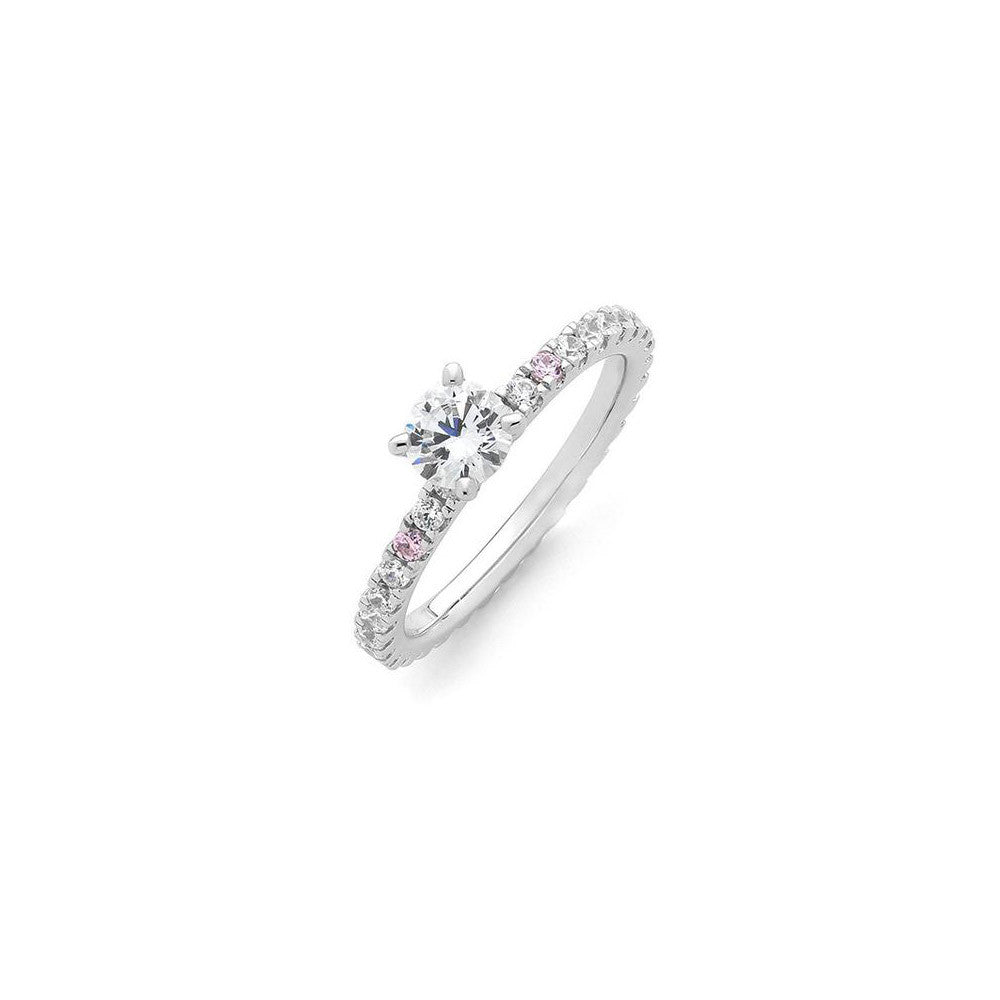 Pink and white diamond engagement ring