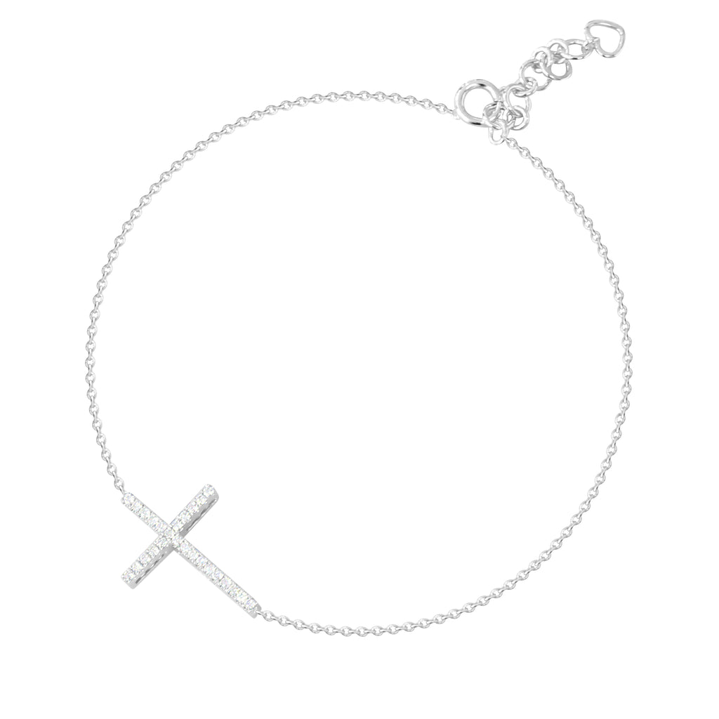 18ct White gold cross bracelet