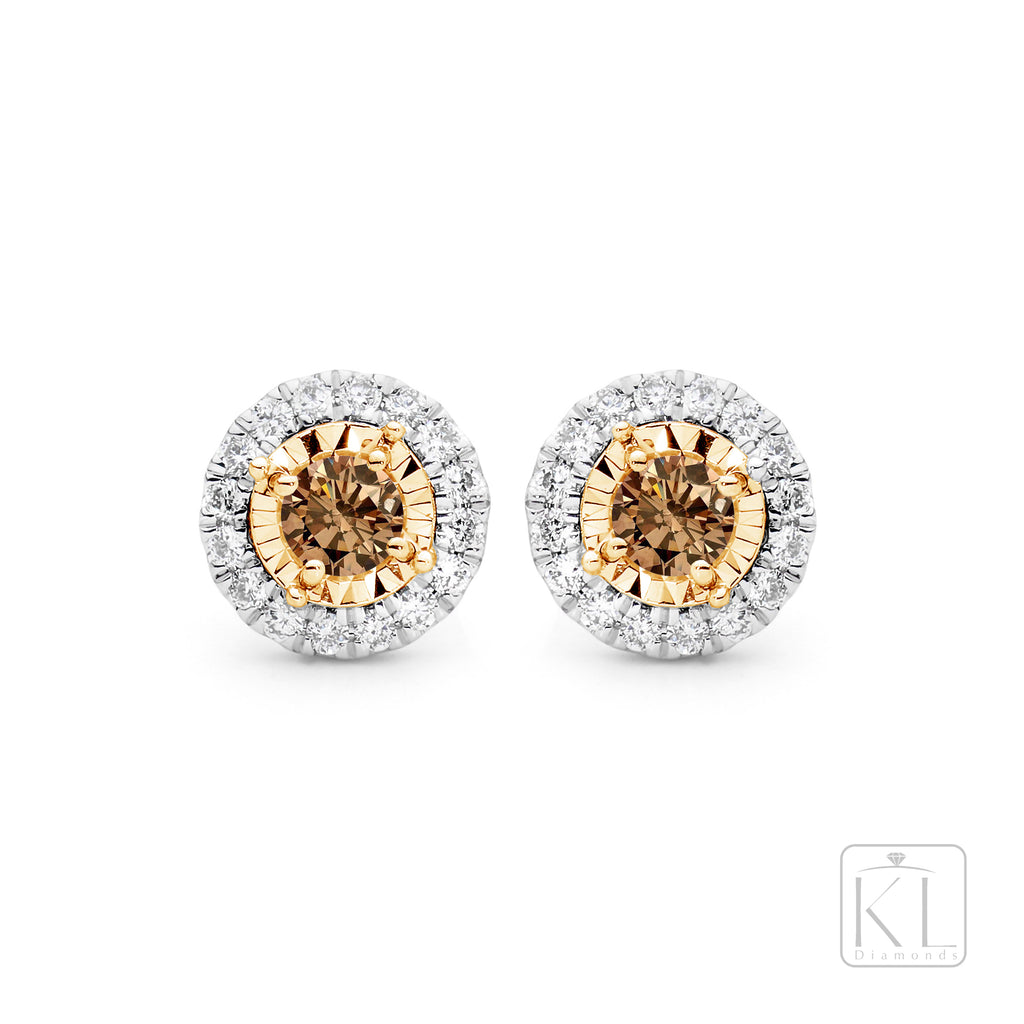 Cognac Cloud 9ct Gold & Diamond Earrings